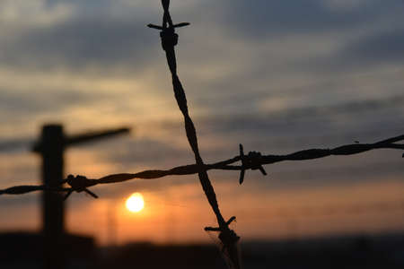 concentration camp: Close-up of old barb-wire fence against the sunset. Place - Majdanek concentration camp in Lublin (Poland). Stock Photo