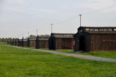 morose: Wood barracks range in Majdanek concentration camp (Lublin, Poland). Bright green grass contrasts with morose buildings.