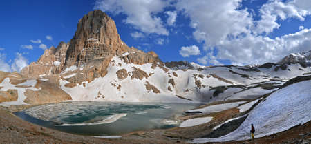 tableland: This is a panoramic view of the AntiTaurus Mountains Aladaglar tableland Edigol Turkey. The lake with ice and little figure tourist are in the foreground.