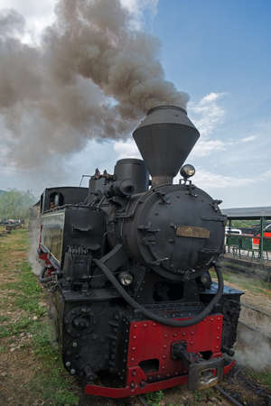 woodburning: Running wood-burning locomotive of Mocanita Maramures, Romania. Close-up. Locomotive smoke goes to blue sky.