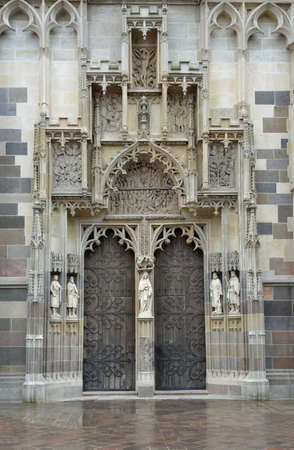 elisabeth: The St. Elisabeth Cathedral is a Gothic cathedral in Kosice Slovakia. Close-up of embossed stone portal.