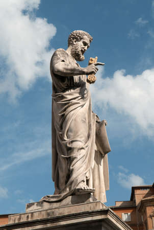 eden: Saint Peter sculpture near St. Peters Basilica located within Vatican City. Saint Peter keeps the key of Eden Paradise in his hand.