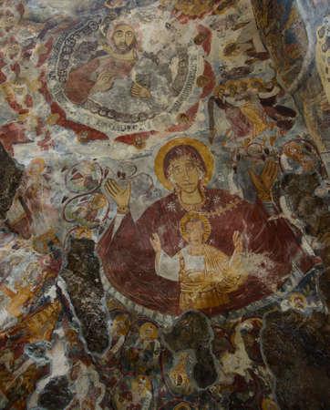 virgen maria: Viejo fresco de Sumela Monasterio Turqu�a: la Virgen Mar�a y Jes�s Christus.