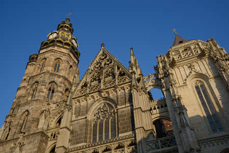 elisabeth: Saint Elisabeth Cathedral Kosice, Slovakia against bright blue sky background. Stock Photo