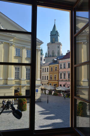 window view: Lublin view from open window. Historic part. Stock Photo
