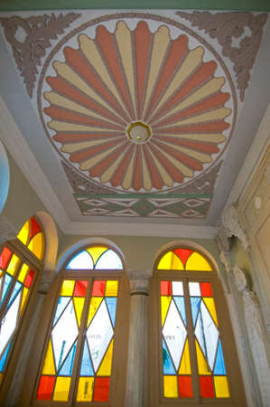fretwork: Karaite Kenesa inside - Crimea, Yevpatoria. Hall is decorated by stained-glass windows, fretwork, columns and  paintings. Editorial