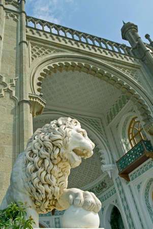 voroncov: Marble lion sculpture of Vorontsov Palace - Alupka, Crimea. Southern terrace.
