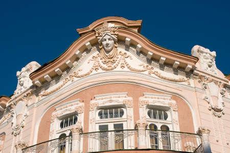 grecas: Reach decorated old building in Yevpatoria Crimea. Cafe Bo-Rivaj was in this building in XIX century. Foto de archivo