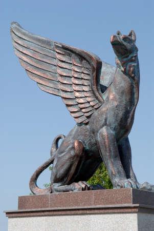 griffin: Griffin sculpture in Kerch (Crimea). Stock Photo