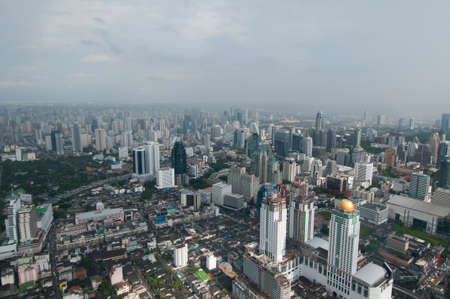 megapolis: Bangkok megapolis aerial view. Stock Photo