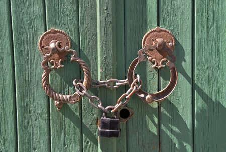 doorhandle: Door-handle may be a point of interest. Cyprus. Stock Photo