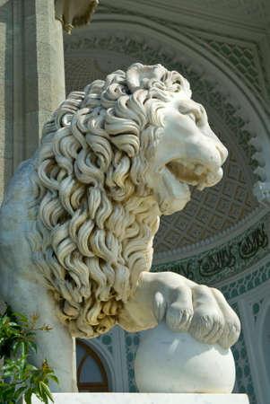 alupka: Marble lion sculpture on the Southern veranda of Vorontsov palace (Alupka, Crimea).