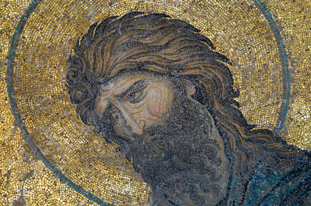 pantocrator: John the Baptist portrait is the part  of mosaic in Hagia Sophia (Istanbul, Turkey).  Emotional pain of holy men is seen well .
