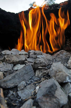 gas fireplace: Yanartas (flaming rock) in Antalya, Turkey. The wonder-fires have been burning for at least 2500 years.
