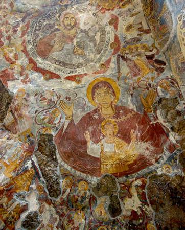 christus: Old fresco from Sumela rock Monastery (Turkey):  the Virgin Mary and Jesus Christus . Editorial
