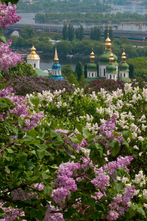 garden scenery: Kiev is the best during lilac blossom. Vydubychi Monastery is in the middle of composition.