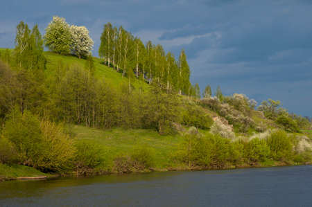thundercloud: Sunlit hill with spring trees against  thunder-cloud background. Water is in foreground. Stock Photo