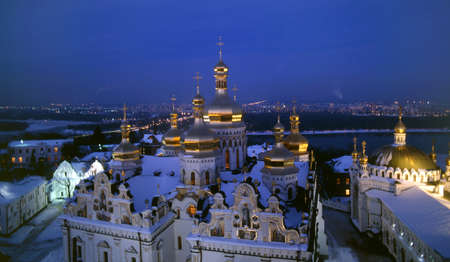 lavra: Illuminated Cathedral of the Dormition (Pechersk Lavra, Kiev) - top view. Editorial