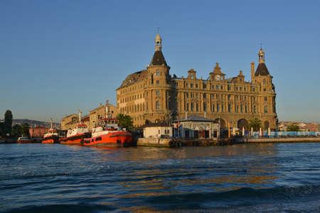 Bosphorus travel. Istanbul Haydarpasa Terminal against blue sky background. Editorial