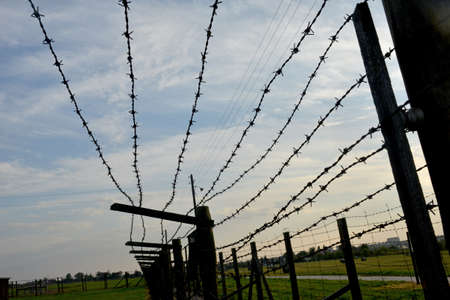 sombre: Barb-wire fence against sombre sky and green grass background. Majdanek or KL Lublin concentration and extermination camp established on the outskirts of the city of Lublin during the German occupation of Poland in World War II. Stock Photo