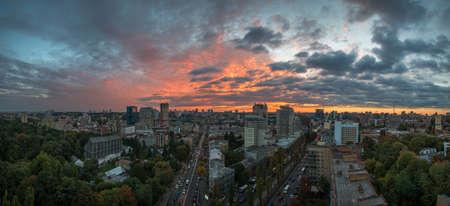 Sunset over Kiev (or Kyiv) - Ukraine. Panorama. Stock Photo