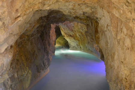 Cave with thermal water - natural SPA in Hungary ( Miskolc). Stock Photo