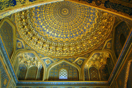 Golden decoration of Registan Medrese indoor. Samarkand.