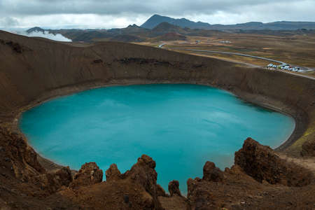 crater lake: Viti crater with azure water. Iceland, Myvatn region. Stock Photo