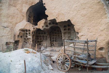 Cappadocia coloring: old dovecote, old cart, some kind of trash.
