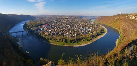 Zaleshchiki town, surrounded by the Dniester, - view from above.