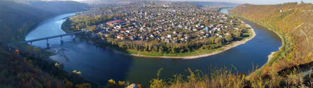 Zaleshchiki town, surrounded by the Dniester, - view from the top.