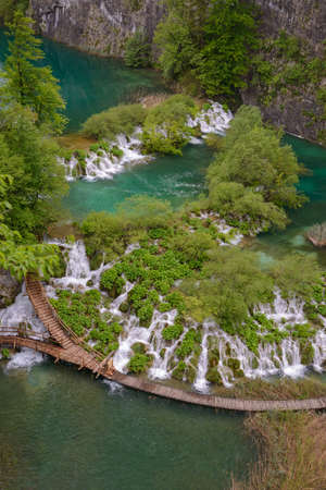 Plitvice Lakes and Waterfalls - top view. Springtime.