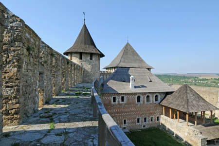 Khotyn fortress  - gallery on defensive wall and other buildings.