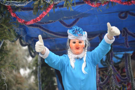 Vashkivtsi, Chernivtsi Oblast, Ukraine - 14.01.2013: Malanka celebration. Men dressed as snow maiden. Vashkivtsi. Stock Photo - 161603517