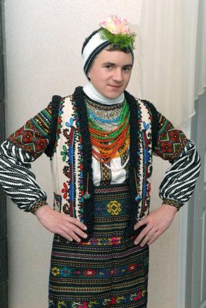 Goroshova, Ternopil Oblast, Ukraine - 14.01.2013: Young man dressed in Malanka costume. Malanka karnival beginning. Editorial