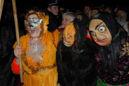 Goroshova, Ternopil Oblast, Ukraine - 14.01.2013: Malanka karnival in Groshova village, night time. Stock Photo - 161603610