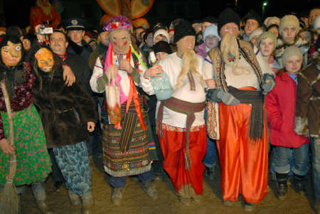 Goroshova, Ternopil Oblast, Ukraine - 14.01.2013: Malanka karnival in Groshova village, night time.
