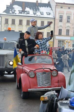 Chernivtsi, Chernivtsi Oblast, Ukraine - 15.01.2013 : Malanka parade in Chernivtsi. Participants disguised as heroes of comedy films.
