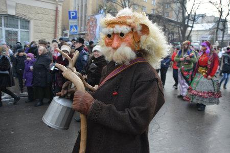 Chernivtsi, Chernivtsi Oblast, Ukraine - 15.01.2013 : Malanka parade in Chernivtsi. Funny participant. Editorial