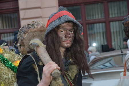 Chernivtsi, Chernivtsi Oblast, Ukraine - 15.01.2013 : Malanka parade in Chernivtsi. Young man in the guise of gypsy. Editorial