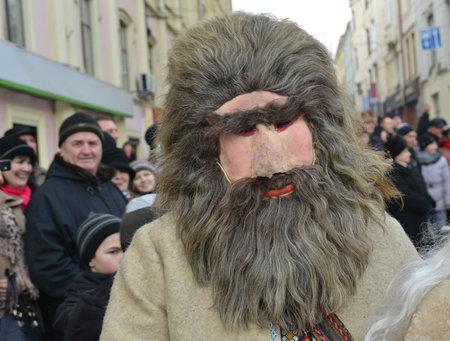 Chernivtsi, Chernivtsi Oblast, Ukraine - 15.01.2013 : Malanka parade in Chernivtsi. Vibrant participant. Editorial