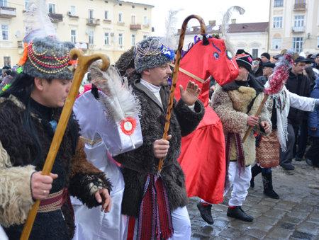 Chernivtsi, Chernivtsi Oblast, Ukraine - 15.01.2013 : Malanka parade in Chernivtsi. Procession with symbolic horses.