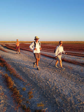 Dzharylgach, Kherson Oblast, Ukraine - 10.09.2020: Easy trekking in open areas. Beautiful holidais on Dzharylgach island.