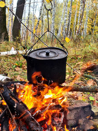 An old black bowler hat hangs over fire. Birch wood (grove) in background.