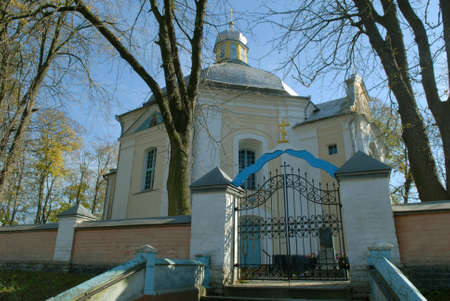 Candlemas (Candlemass) church in Olyka. Blue sky in background. Bottom view. Stock Photo