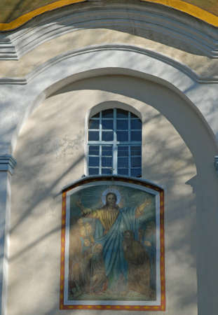 Painting (fresco) with God above entrance, Olyka. Candlemas (Candlemass, Sretenskay) church.