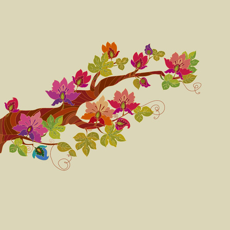 fairy tale blossom tree branch with vivid fantastic flowers,