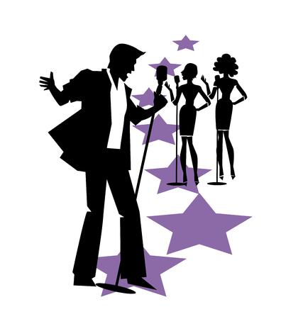 trio: karaoke bar vector poster Illustration