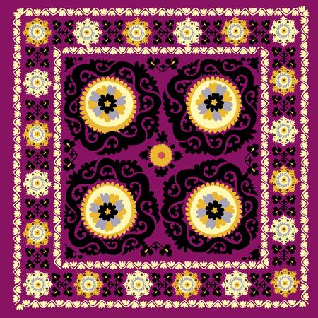 uzbek: Uzbek traditional embrodery vector illustration. susane pattern