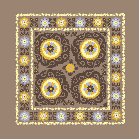 Uzbek traditional embrodery vector illustration. susane pattern